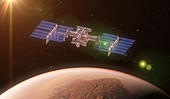 Space station orbiting Mars, illustration