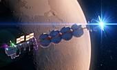 Spaceship traveling to Mars, illustration