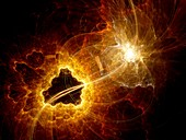 Dark matter explosion in space, abstract illustration