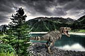 T-Rex dinosaur on a lake shore, illustration