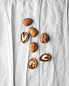 Walnuts on white linen
