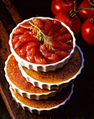 Creme brulee with poached tomatoes