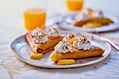 Crepe samosas with meringue and orange zest