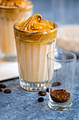 Dalgona Coffee - Airy coffee foam with cold milk