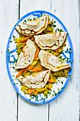 Vegan pancakes with vegetable filling