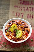 Vegan bean stew with seitan and potatoes