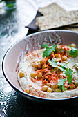Hummus with chickpeas and paprika powder