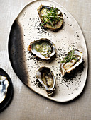 Oysters with spring onions