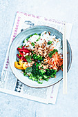 Rice noodle bowl with vegetables (Asia)