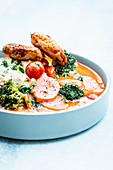 Red Thai curry with crispy fish nuggets