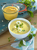 Vegetable cream soup with wild herbs