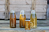 Herb tea set in bottles