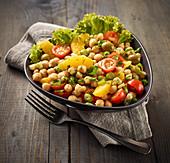 Vegan chickpea salad with oranges