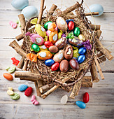 Easter sweets in Easter nest