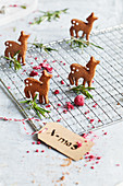 Roast gingerbread on a cooling rack with rosemary and dried raspberries