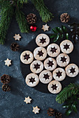 Christams linzer cookies filled with jam