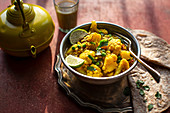 Indian cauliflower tumeric curry with chapati