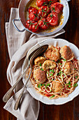 Spaghetti with pâte boulette and roast tomatoes