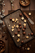 Malted Chocolate Balls Maltesers on a vintage baking tray