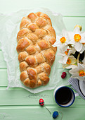Vegan sweet Easter braid with nib sugar