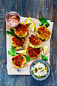 Vegetable pancakes with fresh herbs