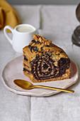 Vegan marble cake slice pattern
