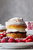 Victoria Sponge Cake with raspberry jam and whipped cream