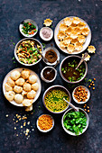Panipuri with ingredients (Indian street food)
