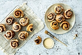 Apple and cinnamon rolls with eggnog icing