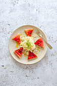 Fenchelsalat mit gegrillter Melone (Low Carb, Detox, vegan)