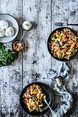 Fusilli with kale and garlic pesto