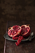 Pomegranate and red currants