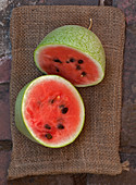 Halved 'Ali Baba' watermelon
