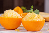 Refreshing orange fruit sorbet
