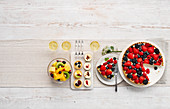 Desserts with fruits and berry tarte