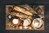 Various bread selection and baking ingredients