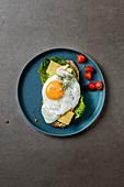 Belegtes Brot mit Salatblättern, Tomaten, Bergkäse, Spiegelei und Dill