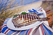 Beach picnic with grilled turbot