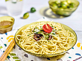 Cold pasta with sesame sauce