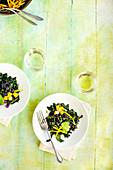 Black Bean Kale Salad with Roasted Poblano Vinaigrette