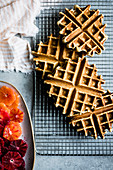 Gluten free waffles with sliced blood oranges