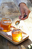 Sweetening flower tea