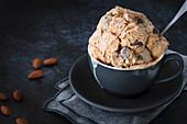 Coffee and chocolate coated roast almond ice cream.