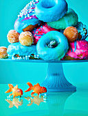 Colorful donuts with maritime decorations