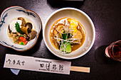 Japanese kaiseki dishes off chopsticks