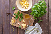 Ingredients for basil butter