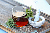 Herbal tea made from thyme and ribwort
