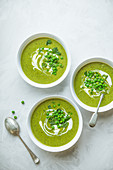 Spring pea and mint soup with sour cream