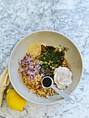 Zutaten für Chuna Mayo (vegane 'Thunfisch'-Mayo mit Kichererbsen)