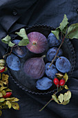 Fresh plums and figs in a tart tin surrounded by rose hips